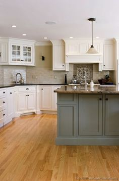 Traditional Two-Tone Kitchen Cabinets, gray and white w/ pearl subway tile Love cabinets gray center aisle