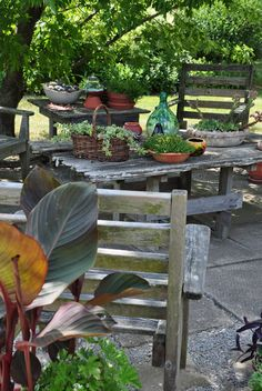 Rustic garden table from Three Dogs in a Garden