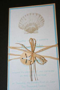 sea shell and raffia tea length wedding invitation