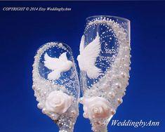 White Doves Wedding glasses, Wedding Toast Flutes, Bride And Groom, Personalized Toasting Flutest, Bridal Shower gift, Wedding gift by WeddingbyAnn