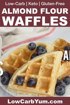 Easy and delicious keto waffles made with almond flour! A fantastic gluten-free . - The Keto Diet - Keto Waffle, Waffle Recipes, Gourmet Recipes, Low Carb Recipes, Healthy Recipes, Bread Recipes, Gluten Free Recipes Videos, Diet Recipes, Cooking Recipes