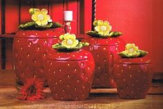 3 D Strawberry 4 piece Canisters Set 83501 by ACK Strawberry Kitchen, Strawberry Glaze, Strawberry Patch, Strawberry Fields, Strawberry Shortcake, Red Kitchen, Kitchen Items, Kitchen Decor, Kitchen Dining