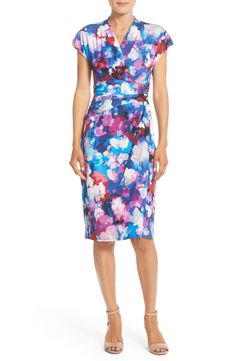 Free shipping and returns on Maggy London 'Shadow Blossom' Print Faux Wrap Jersey Dress (Regular & Petite) at Nordstrom.com. A vibrant watercolor floral print blooms across a figure-flattering, faux-wrap dress styled with pleated detailing at the bodice and waist. A surplice V-neck and cap sleeves complete the look with elegant finishing touches.