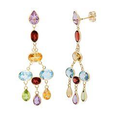 14k Yellow Gold Bezel-set Multi-gemstone Earrings | Overstock.com Shopping - The Best Deals on Gemstone Earrings