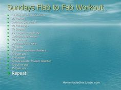 Sunday Flab to Fab Workout