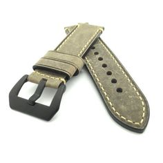 Vintage Cobbler Brown Crazy Horse Leather Watch Strap (Black PVD, 22mm, 24mm) #CozyAccessories
