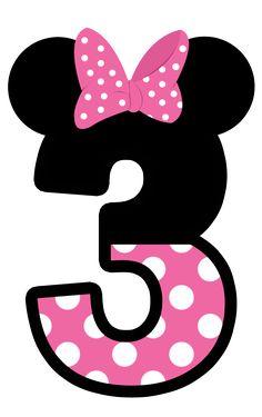 Números Minnie. Tres. 3.