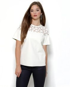 """Title: Gracia Mesh Inset Leatherette Blouse  Brand Name: Gracia  Item Type: Apparel  Item: Blouse  Made In: Imported  Gender: Women  Condition: Brand New  Material: 75% Polyurethane, 15% Cotton, 10% Polyester  Neck Type: Scoop neck  Sleeves: Short sleeves  Care Instructions: Hand wash"""