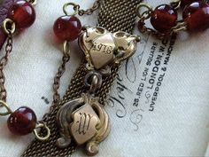 Victorian Mesh Watch Fob Necklace Assemblage by WhatOnceWas, $98.00