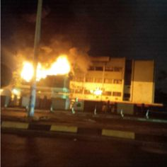 Photos: Fire guts PDP National Secretariat in Abuja