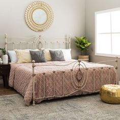 King Size Bed Vintage Metal Romantic Style Frame Sturdy Headboard Footboard Rail #RomanticStyle