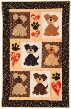 Adorable Puppy Dogs Block AND Applique' Quilt Pattern Sale Quilt Baby, Colchas Quilt, Quilt Blocks, Dog Quilts, Cute Quilts, Animal Quilts, Quilting Projects, Quilting Designs, Quilting Ideas