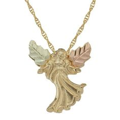 Coleman Black Hills Gold An elegant 10K gold pendant featuring a beautiful angel with outstretched arms. The pendant is further accented with 12kt rose and green leaves in traditional Black Hills Gold