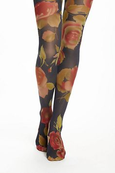 Peony-Printed Tights - Anthropologie.com  (Bring the floral trend into Fall) #fashion