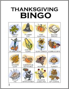 Thanksgiving Bingo (free printable!) <> Need: white cardstock, pennies, buttons, or dried beans for placemarkers, pair of scissors. www.makingfriends.com/fallcrafts/thanksgiving_bingo.htm