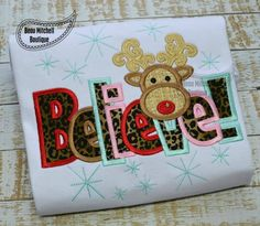 Believe reindeer applique by BeauMitchellBoutique on Etsy