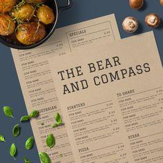 The Bear & Compass | A rustic menu design with a modern twist #menu #restaurant #rustic