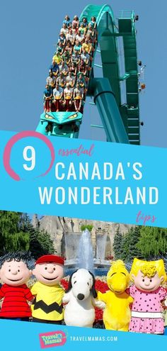 Tips for visiting Canadas Wonderland in Toronto.  Theme parks are tons of fun for kids and will be for parents as well with these tips.  The best rides, where to see characters, other attractions within the park and more information youll need as you plan your trip to this fun amusement park.  Who wouldnt want to go see Snoopy and his friends?  #Canada #CanadasWonderland #Toronto #familytravel