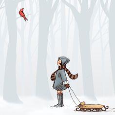 Children's Wall Art Print - Winter Cheer - Sarah Jane Studio