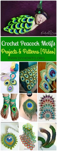 Crochet Peacock Feather Free Patterns and Applique Projects: Crochet Peacock blanket, Baby Cocoon outfit, Earrings and More with video. via @diyhowto