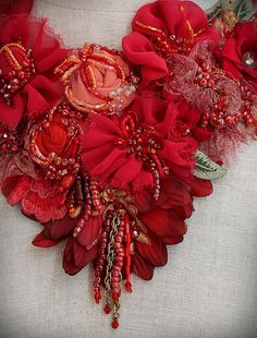 JEAN MARIE Red Mixed Media Textile Statement Bib by carlafoxdesign