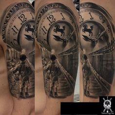 stairs to clock tattoo Badass Tattoos, Great Tattoos, Beautiful Tattoos, Tattoos For Guys, Fake Tattoo Sleeves, Best Sleeve Tattoos, Arm Tattoos, Detailliertes Tattoo, Calf Tattoo