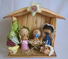 nacimiento fofucho Christmas Clay, Christmas Nativity, Winter Christmas, Christmas Holidays, Christmas Decorations, Christmas Ornaments, Foam Crafts, Diy Crafts, Nativity Crafts