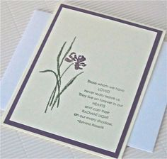 Condolence/sympathy card stamped blank flower green plum stationery Rossetti greeting card home and living
