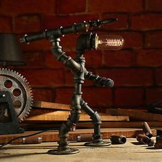 Vintage Industrial Style Metal Robot Pipe Table Desk Lamp Free Edison Bulb ZH49 | eBay