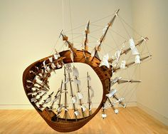 Mobius Ship by Tim Hawkinson.  This may be my favorite piece of art. It's a mix between Moby Dick and a mobius strip.