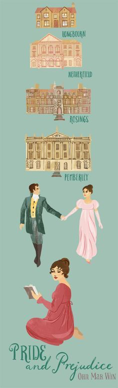 An illustrated map of the key locations from Jane Austen's famous book - Pride and Prejudice