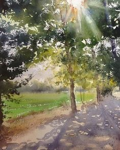 No photo description available. Tree Watercolor Painting, Watercolor Landscape Paintings, Easy Watercolor, Watercolor Artists, Watercolor Techniques, Abstract Watercolor, Watercolor Illustration, Landscape Art, Painting & Drawing
