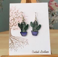 Cactus Earrings - Hand Drawn Plastic Earrings on silver plated drop earrings