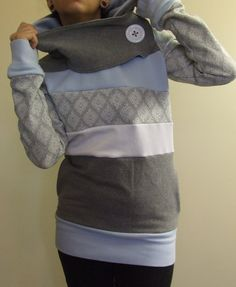 FROST BITE - Hoodie Sweatshirt Sweater - Recycled Upcycled - One of a Kind Women - Small/Medium
