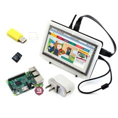 RPi3 B Package F# Raspberry Pi 3 Model B+ 7inch HDMI LCD 1024*600 IPS Touch Screen+Bicolor case+8GB Micro SD card+ Power Adapter