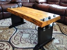 Features live edge pine top suspended by six large bolts. The base was made using thick reclaimed steel. Length width height Custom orders are also welcome, prices may vary depending on size and features. Industrial Style Coffee Table, Industrial Design Furniture, Rustic Furniture, Diy Furniture, Furniture Design, Wood Steel, Wood And Metal, Coffee Table Bench, Furniture Projects