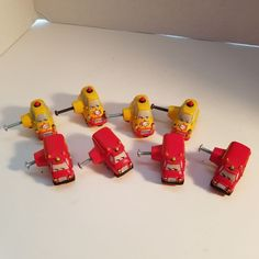 Lot Of 8- 4 Red Fire Trucks 4 Yellow Police Cars Dresser Drawer Kids Knobs #Unbranded
