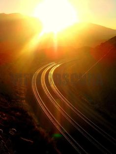 Sunlit Rails  BNSF Railroad  Cajon Pass California  by ViewObscura, $10.00