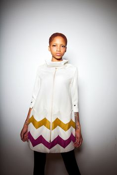 White Chevron Driving Coat with Fuchsia & Chartreuse Insets. $435.00, via Etsy.