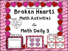 Broken Hearts is the theme for this super cute Math Daily 3 activity pack. Contents:Math by myself:  Doubles- A matching game with recording sheet.                            Part Part Whole Task Cards to use with wipe off markers.Math with someone: Numbers representation puzzles for numbers up to 10 (numeral, ten frame, number word and array matching) Math writing:  Problem solving constructed response activities in which students must communicate their thinking.Planning your Math… Holiday Activities, Math Activities, Part Part Whole, Constructed Response, Math Rotations, Canadian Thanksgiving, Math Writing, Halloween And More, Daily 3