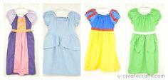 Disney Princesses robes Idées : 4 robes de princesses Disney à partir du patron de la robe Léa à manches ballon