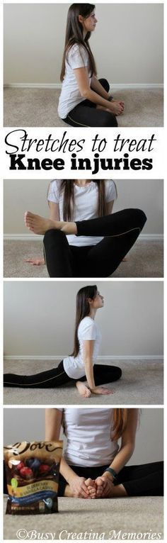Alasadi show youThese four hip stretches help prevent and treat knee pain and knee injuries. And after you treat your knees, treat yourself with DOVE® Chocolate Fruit & Nut! Knee Strengthening Exercises, Knee Stretches, Flexibility Exercises, Band Exercises, Weight Exercises, Chiropractic Treatment, Chiropractic Care, How To Strengthen Knees, Corps Parfait