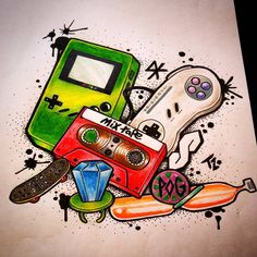"79 Likes, 6 Comments - Travis Racine (@travicimo) on Instagram: ""Little 90s nostalgia #tattooapprentice #tattoo #art #design #90s #nostalgia #gamer #nintendo…"""