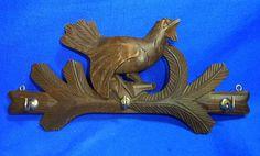 Vintage German Black Forest Wood Carved Key Board Wood Grouse Motive #Z