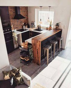 Cozy Kitchen, Rustic Kitchen, Kitchen Decor, Industrial Kitchen Design, Interior Design Kitchen, Interior Design Inspiration, Home Decor Inspiration, Kitchen Inspiration, Küchen Design