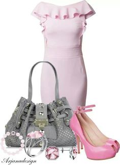 Pink dress shoes and accesories gray purse