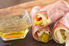 High fat, Keto Italian sub roll-up lunch with 20g of fat, 10g of protein and less than 1 net carb. The perfect Keto lunch.