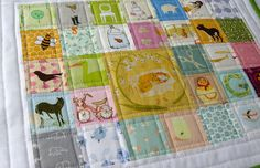 I spy--love the pastel colors. This example is a placemat, which would be fun, but also could easily be expanded to a quilt or floor playmat.