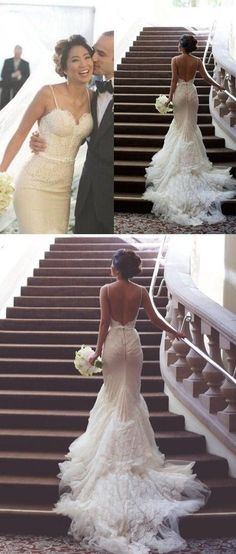 Backless Wedding Dresses White Lace Mermaid Spaghetti Straps Long Bridal Gowns Tulle Sexy Open Back Dress For Bridal