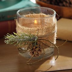 Bring light to your rustic Christmas with this Burlap and Pine Votive Candle Holder. Just add a lit candle and enjoy the simple charm of this rustic decoration. Christmas Candle Holders, Votive Candle Holders, Christmas Candles, Christmas Centerpieces, Votive Candles, Christmas Trees, Christmas Ornaments, Beeswax Candles, Burlap Centerpieces